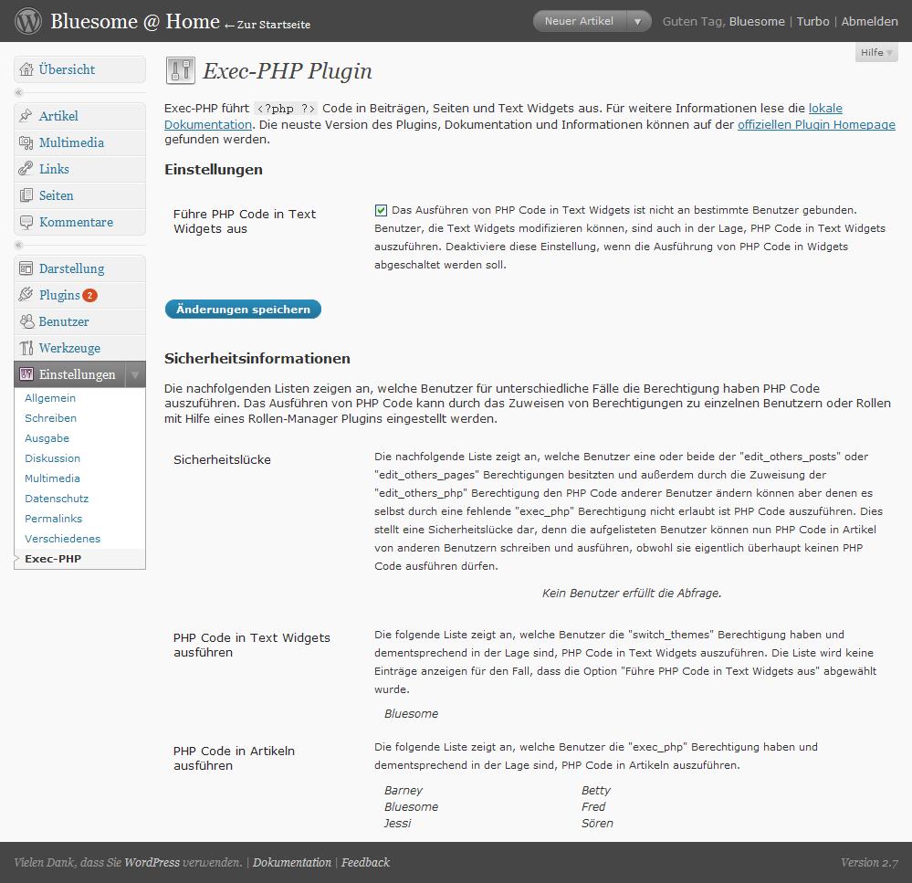 exec-php WordPress-Plugin